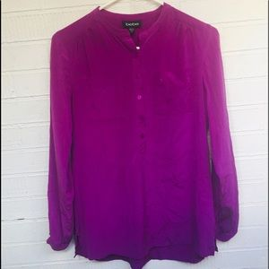 Bebe plum silk blend career casual blouse sz S